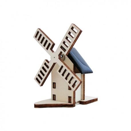 Petit moulin solaire publicitaire en bois personnalisable par gravure laser