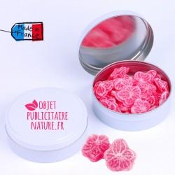 Boîte bonbons personnalisable 75mm 50Gr - Pastille à la rose