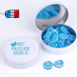 Boîte bonbons personnalisable 75mm 50Gr - Pastille menthe