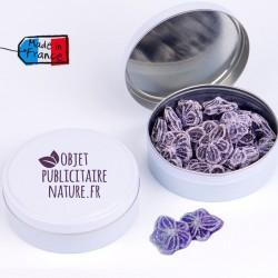 Boîte bonbons personnalisable 75mm 50Gr - Pastille à la violette