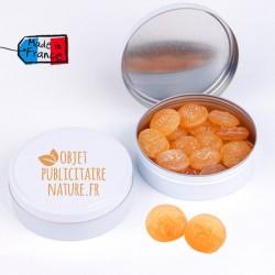 Boîte bonbons personnalisable 75mm 50Gr - Pastille miel eucalyptus