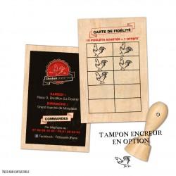 Carte de fidélité en bois avec tampon encreur en option