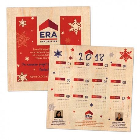 Carte voeux et calendrier en bois format carré 145x145mm