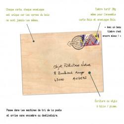 Enveloppe en bois personnalisable format carte postale