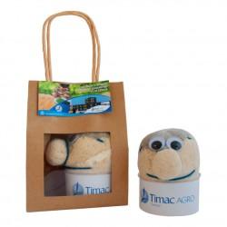 Tête avec graines de gazon en sac kraft personnalisable