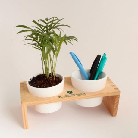 Plateau publicitaire en bois avec 2 pots céramique et une plante dépolluante