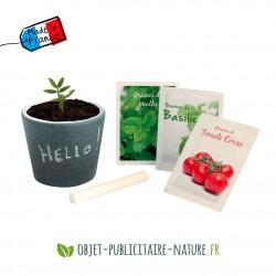 Kit de plantation pot ardoise avec craie en cube personnalisé