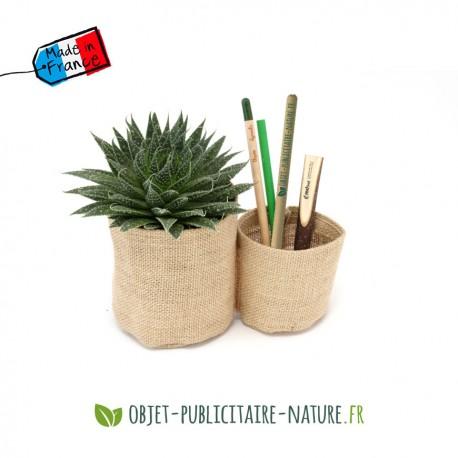 Plante dépolluante en pot double toile de jute personnalisable