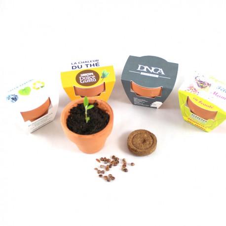 Kit de plantation publicitaire personnalisable pot terre cuite 6 cm