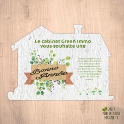 Papier à graines personnalisable avec découpe en forme de maison