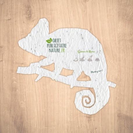 Carte ensemencée personnalisable forme caméléon