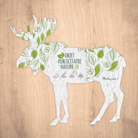 Carte ensemencée personnalisable forme cerf/renne