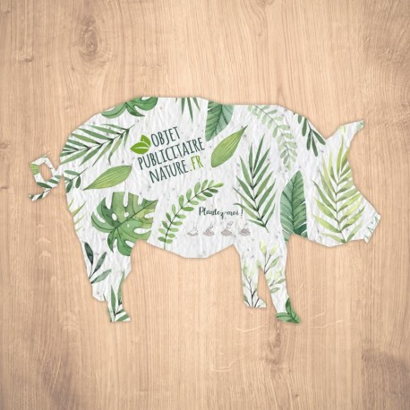 Carte à graines à planter personnalisable forme de cochon
