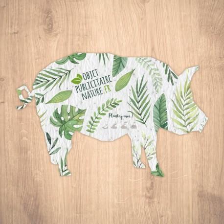 Carte à graines à planter personnalisable forme de cochon