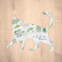 Carte à graines à planter personnalisable forme de chat