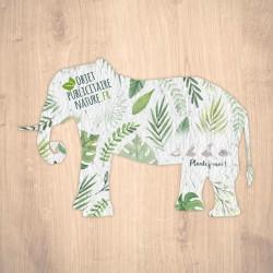 Carte à graines à planter personnalisable forme d'éléphant