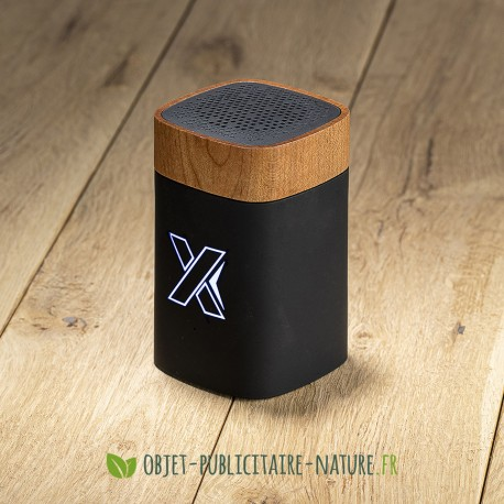 Enceinte finition bois d'érable personnalisable avec logo lumineux - 5W