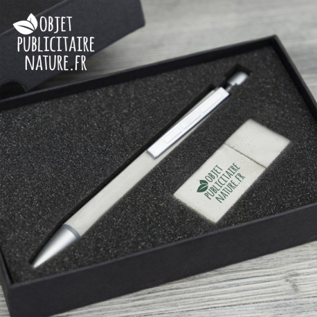 Coffret publicitaire stylo et clé USB en béton personnalisable