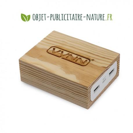 Powerbank en bois personnalisable 5000 et 10000 mAh - Grand format