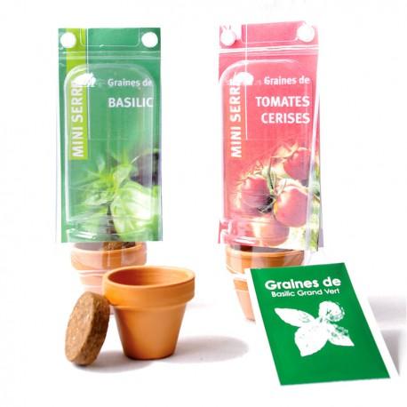 Mini serre de plantation publicitaire 1 pot terre cuite avec graines