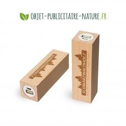 Powerbank personnalisable en bois de hêtre 2600 mAh - Petit format carré