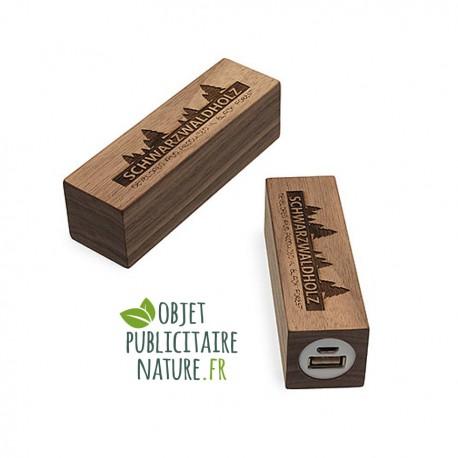 Powerbank personnalisable en bois de noyer 2600 mAh - Petit format carré