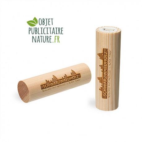 Powerbank personnalisée en bois de pin 2600 mAh - Forme ronde