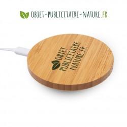 Chargeur sans fil personnalisable en bambou rond