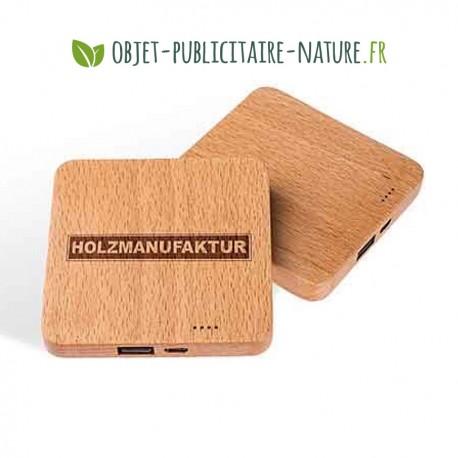 Powerbank en bois personnalisable 2600 mAh - Design plat et élégant