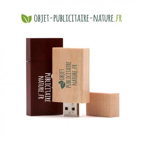 Clé USB personnalisable en bois plate 60 x 28 x 10 mm (noyer, érable ou bambou)