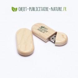 Clé USB personnalisée en bois d'érable plate arrondie