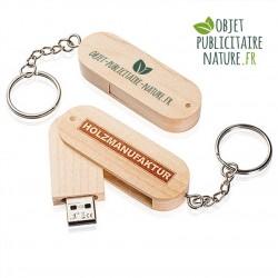 Clé USB rotative personnalisable en bois avec porte-clé