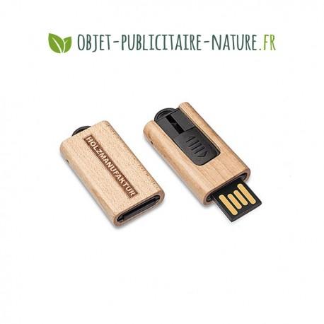 Petite clé USB personnalisable en bois avec oeillet pour porte-clé