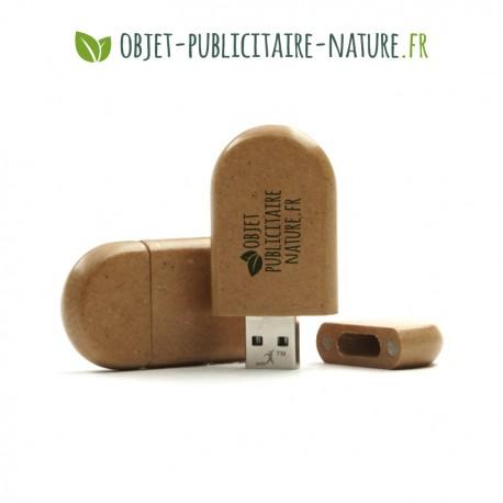Clé USB en papier recyclé personnalisable - Modèle plat arrondi