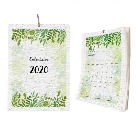 Calendrier 2021 imprimé sur papier à planter   1 mois par page