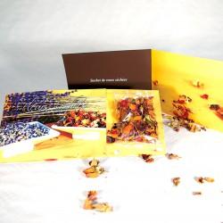 Carte voeux avec fleurs séchées 21x10 cm personnalisable