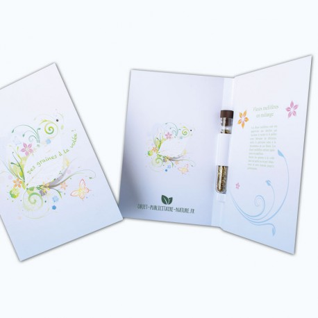 Carte voeux papier recyclé avec tube de graines au choix