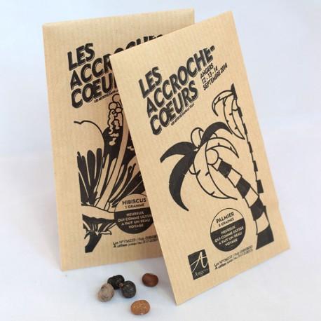 Sachet publicitaire graines exotiques (bananier, palmier...) en papier kraft