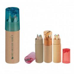 Tube publicitaire taille crayon 6 crayons de couleur