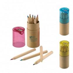 Tube publicitaire taille crayon 12 crayons de couleurs