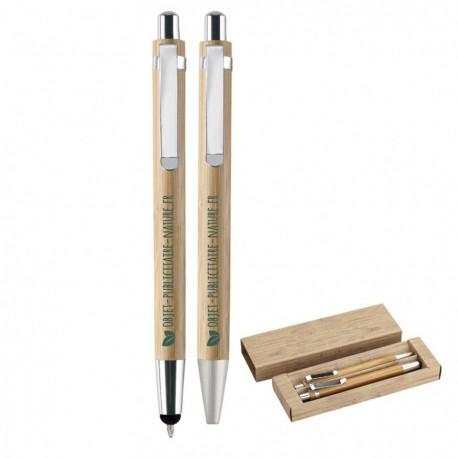 Coffret stylo à bille avec embout tactile et un porte-mines en bambou