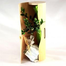 Plant arbre publicitaire en tube bois naturel