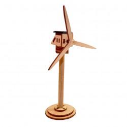 Eolienne solaire publicitaire en bois personnalisée petit modèle