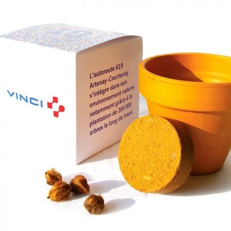 Grand cube de plantation boîte carton personnalisable avec pot terre cuite