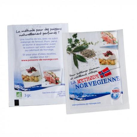 Sachet publicitaire épices bio 100x150mm personnalisable